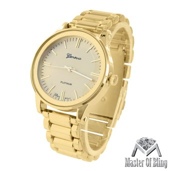 Womens Yellow Geneva Watch Parker Gold Tone Platinum MK Style Plain No Stone