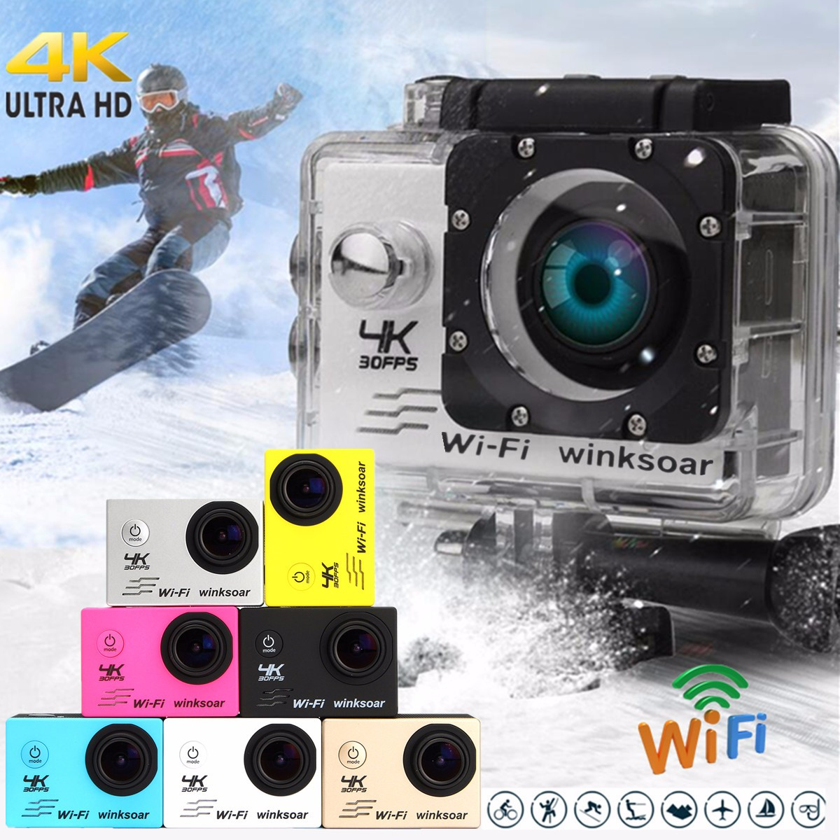 Winksoar SJ9000 Wifi 1080P 4K Ultra HD Sport Action Camera DVR Cam Camcorder Waterproof Christmas Gifts