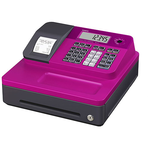 Casio SEG1SC Thermal Print Cash Register, Pink