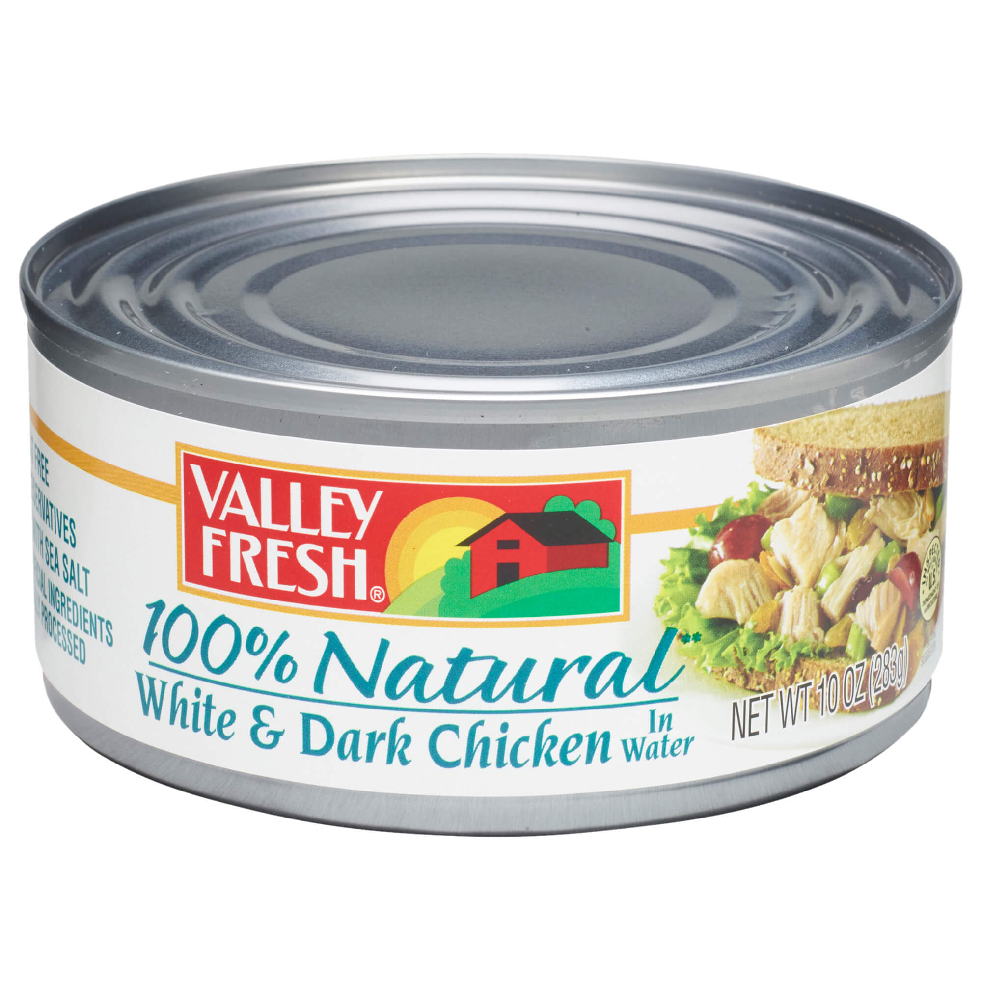 Valley Fresh 100% Natural White and Dark Canned Chicken in Broth, 10 Ounce