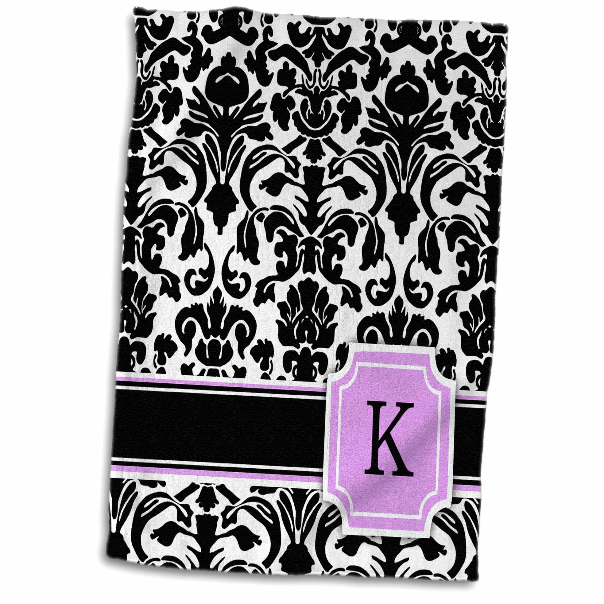 3dRose Personal initial K monogrammed pink black and white damask pattern girly stylish personalized letter - Towel, 15 by 22-inch