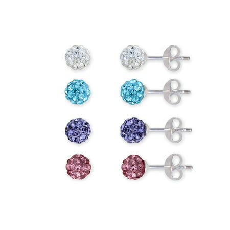 4.5mm Pave Crystal Fine Silver Plated Ball Stud 4-Piece Earrings Set