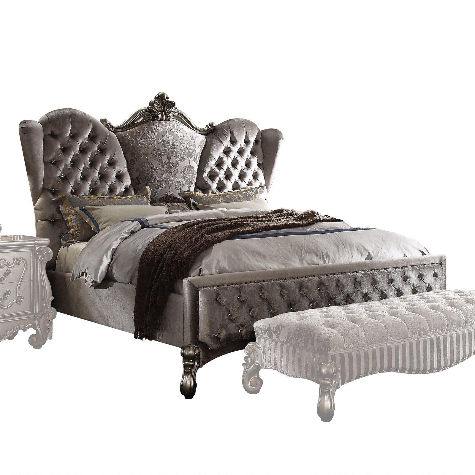 Acme Furniture Versailles Low Profile Velvet Bed