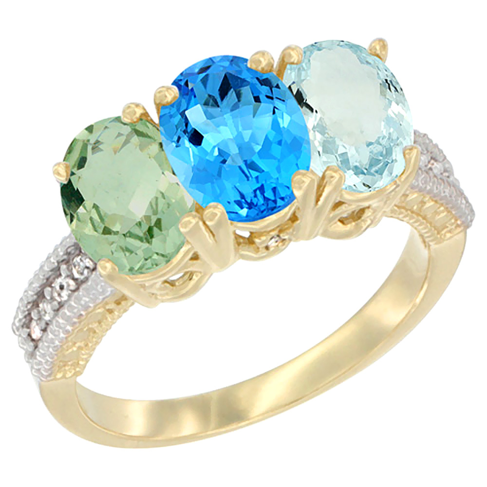 10K Yellow Gold Diamond Natural Green Amethyst, Swiss Blue Topaz & Aquamarine Ring Oval 3-Stone 7x5 mm,sizes 5-10 by WorldJewels