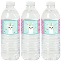 Whole Llama Fun - Llama Fiesta Baby Shower or Birthday Party Water Bottle Sticker Labels - Set of 20