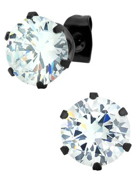 Large Stainless Steel Black IP Plated Round Cut 5.5 Ct CZ Simulated Diamond Stud Earrings for Men