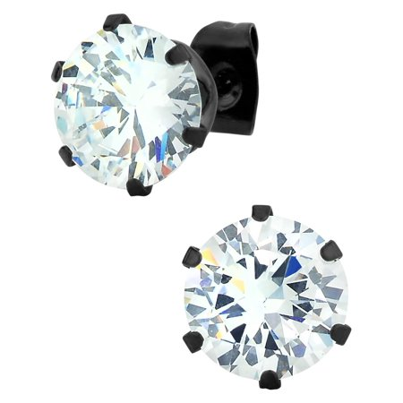 0.06 Ct Mens Diamond - Large Stainless Steel Black IP Plated Round Cut 5.5 Ct CZ Simulated Diamond Stud Earrings for Men