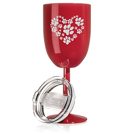 14 oz Double Wall Vacuum Insulated Stainless Steel Wine Tumbler Glass with Lid Heart Paw Prints (Kind Hearts Tumbler)