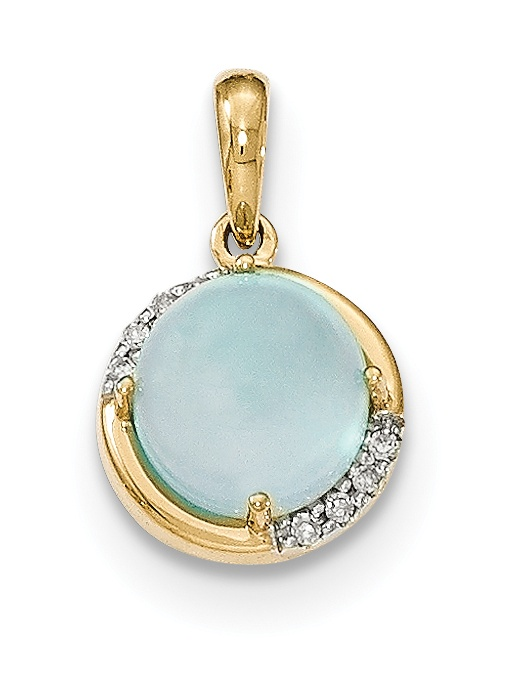 14k Blue Chalcedony and Diamond Pendant by Core Gold