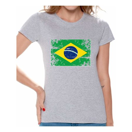 Awkward Styles Brazil Flag Shirt for Women Brazilian Soccer 2018 Tshirt Gifts from Brazil Flag of Brazil Brazilian Women Brazil Shirts for Women Brazil 2018 Tshirt Brazilian Gifts for Women