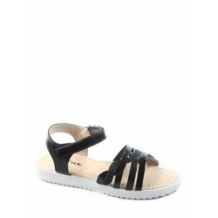 Kristin-2k Link Youth Girl's Strappy Bling Gladiator Flat Heel Sandal Shoes (Strappy Gladiator)