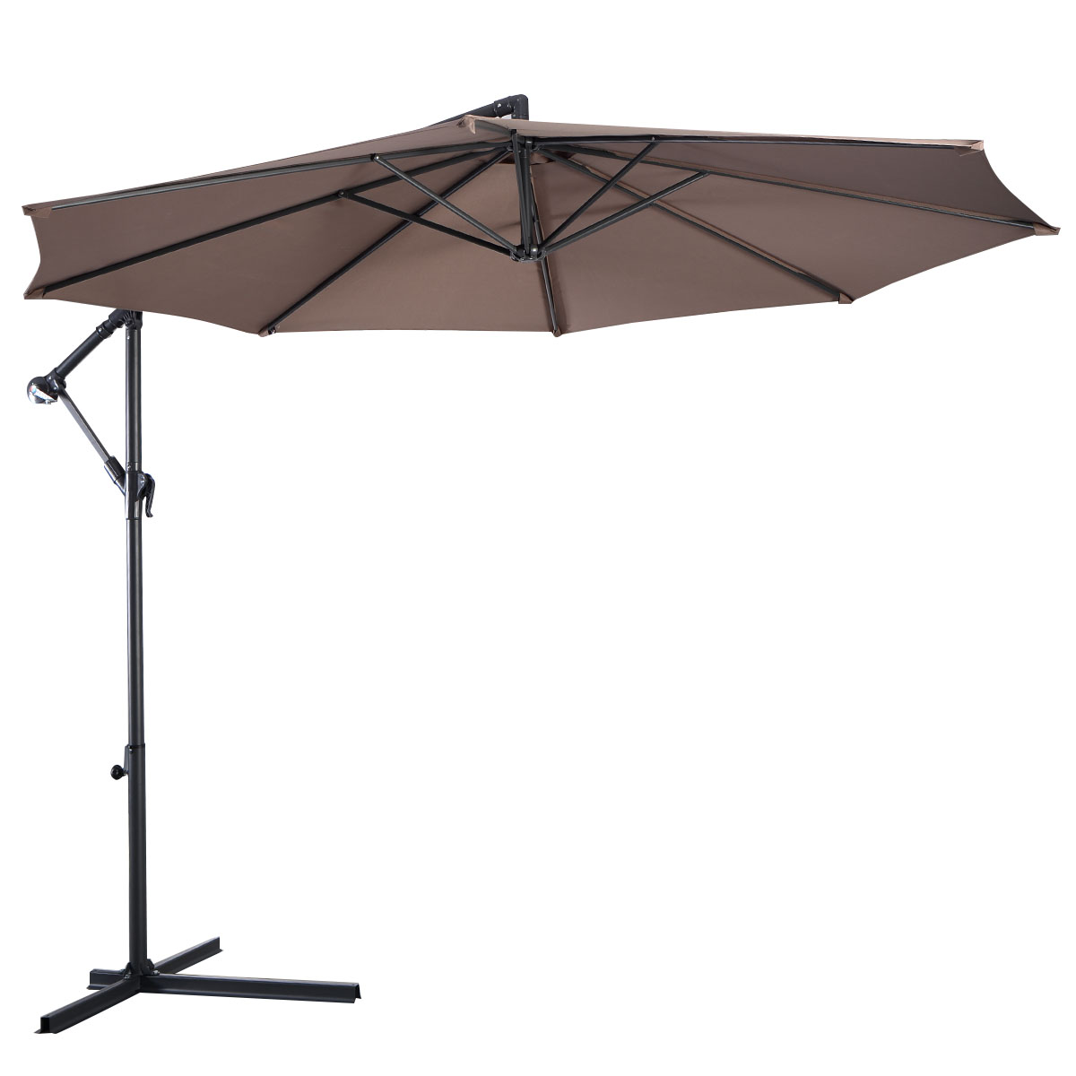 Costway 10' Hanging Umbrella Patio Sun Shade Offset Outdoor Market W t Cross Base (Tan) by Costway