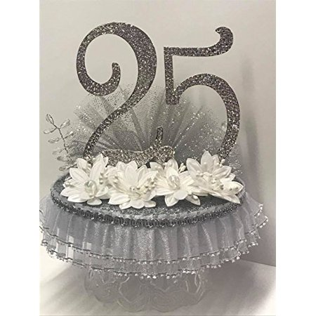 25th Anniversary Birthday Cake Topper Centerpiece With Number Rhinestones