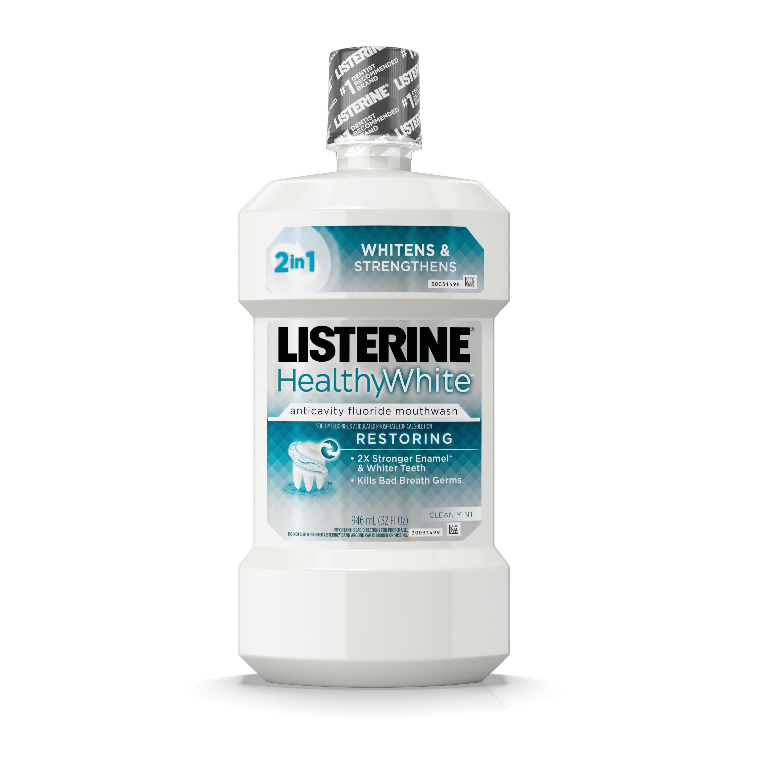 Listerine Healthy White Teeth Whitening Fluoride Mouthwash, 32 fl. oz
