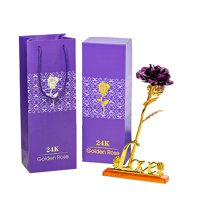 snorda Gold Foil Valentine's Day Gift Romantic Rose With Base With Packaging Gift
