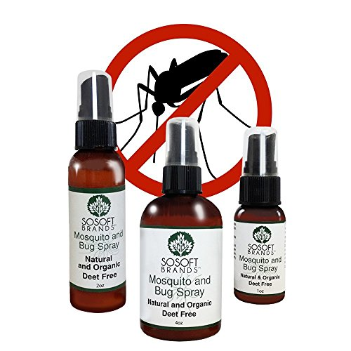SoSoft Brands TM Mosquito and Bug Spray - Natural and Organic - Deet Free (3 Pack 1oz, 2oz and 4oz)