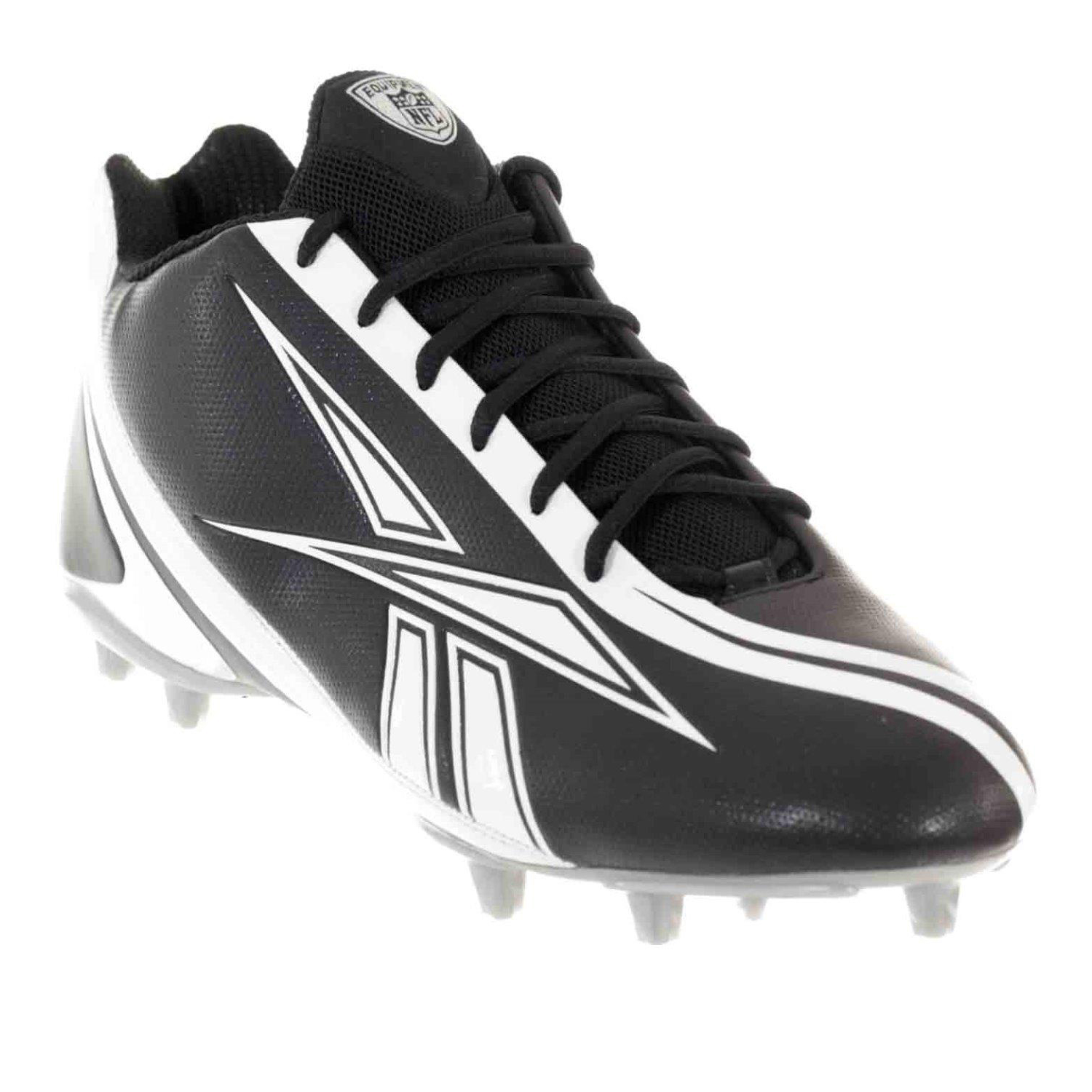 REEBOK PRO BURNER SPEED 5/8 M3 MENS FOOTBALL CLEATS BLACK WHITE 15
