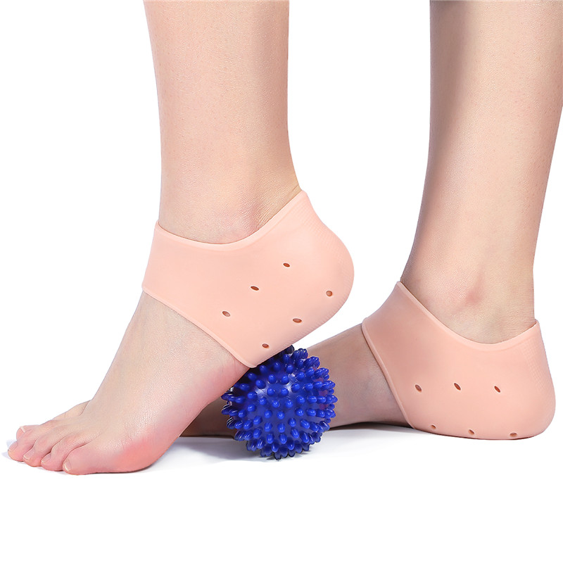 Plantar Fasciitis Heel Cushion Foot Sleeve(1 Pairs)Breathable Protective Silicone Heel Protector with 1 Foot Massage Ball Reduce Pressure on Heel,Relief Heel Pain and Cracked Heel(Skin)