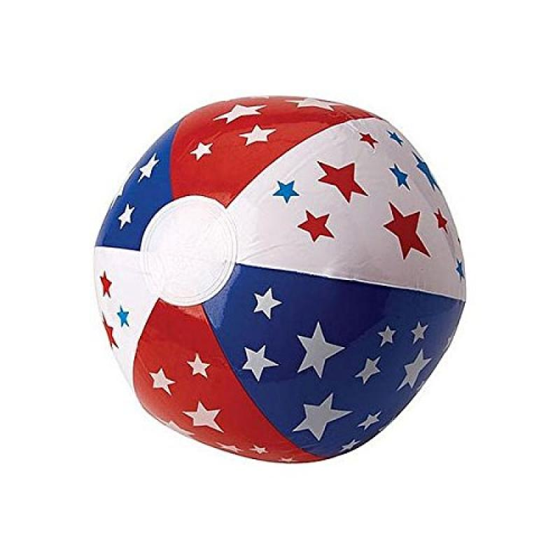 """Star Spangled Fourth of July Party Red, White and Blue Stars and Stripes Beach Ball Favours, Vinyl, 20"""""""