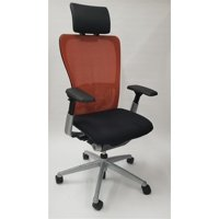 Haworth Zody Chair Mesh Back Fully Adjustable Model in Orange/Black, Executive Office Chair