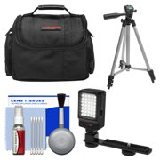 Essentials Bundle for Samsung HMX-F90, Q20, QF20, QF30 HD Camcorder with Case + LED Light + Tripod + Cleaning Kit