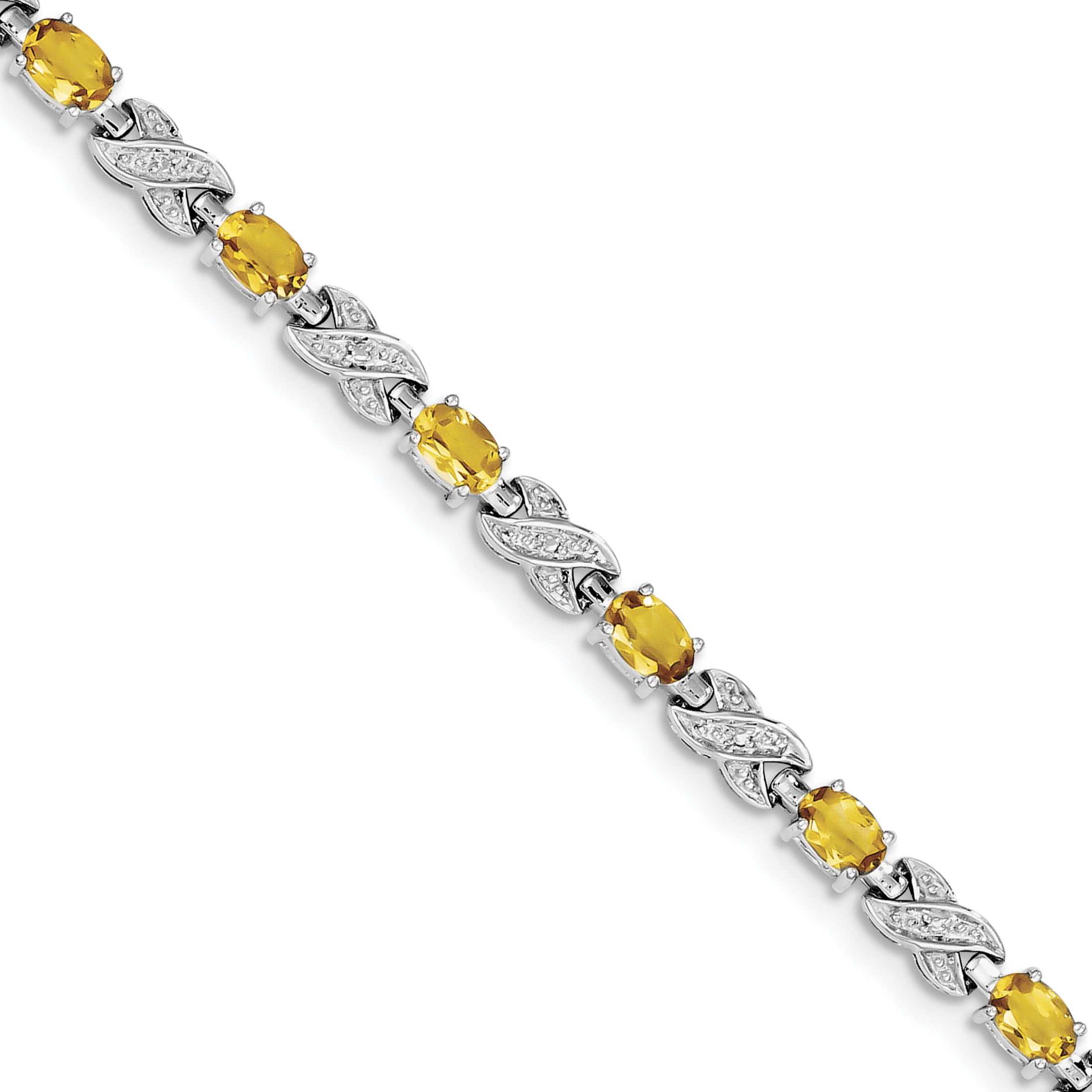 925 Sterling Silver Rhodium-plated Citrine Bracelet by
