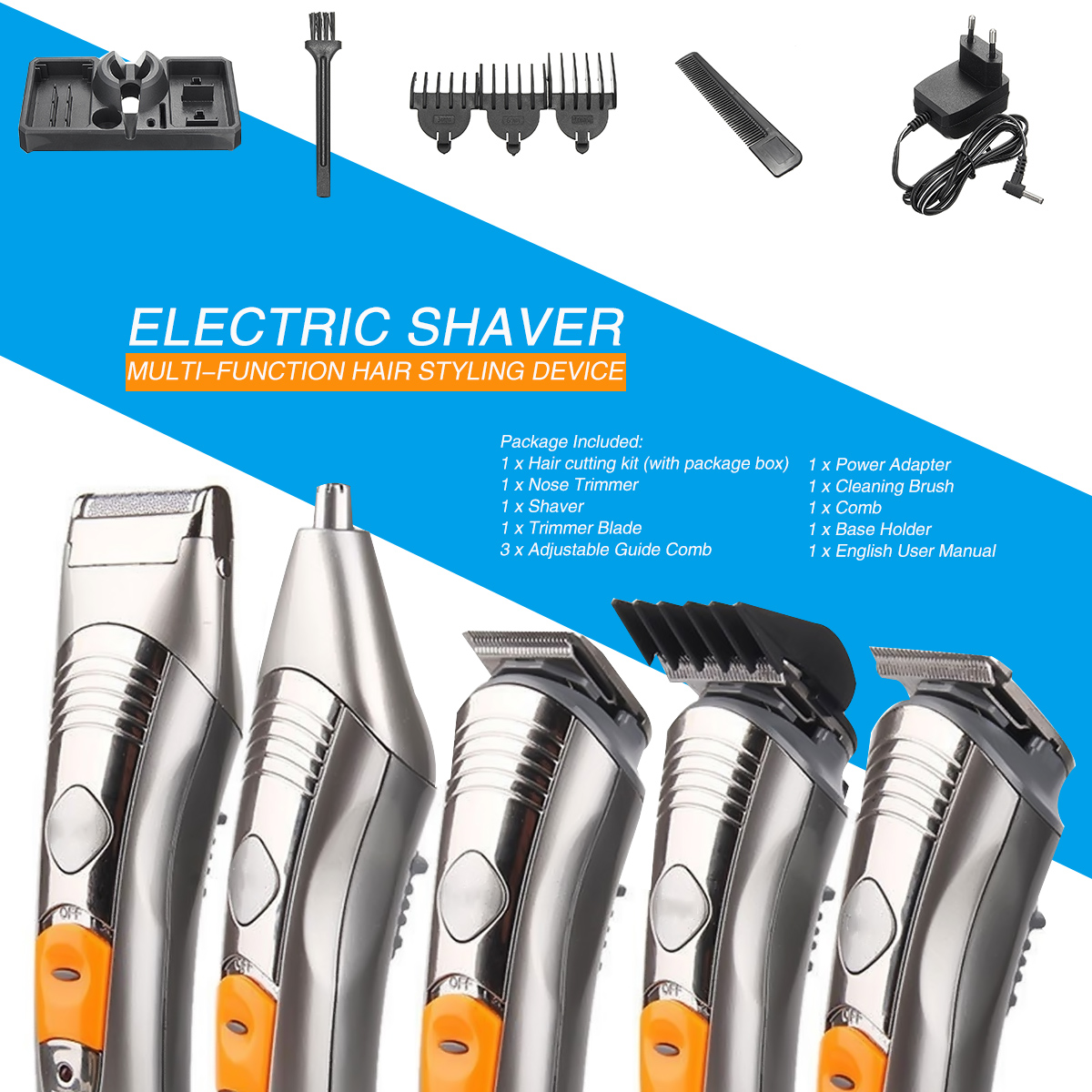 220V Men Professional Electric Body Beard Hair Cut Clipper Shaver Machine Kit Trimmer Set