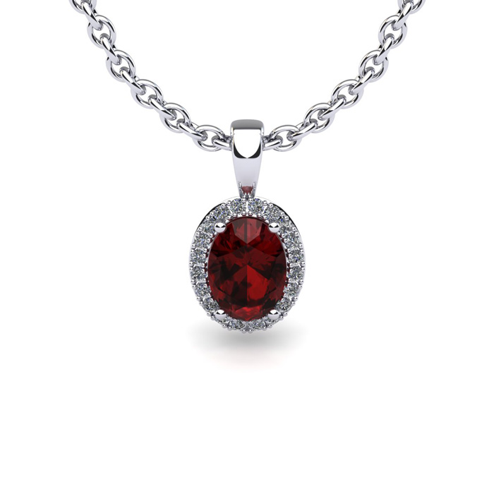 1 1 2 Carat Oval Shape Garnet and Halo Diamond Necklace In 14 Karat White Gold With 18 Inch Chain by SuperJeweler