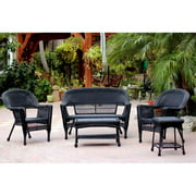 Jeco W00207-G-OT 5 Piece Black Wicker Conversation Set