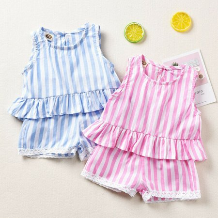 New Outfit 2019 (NEW Boutique Toddler Baby Girl Summer Stripe Tops Shorts 2Pcs Outfits Set)