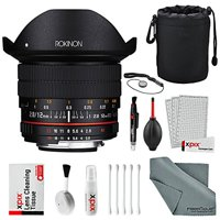 Rokinon 12mm f/2.8 ED AS IF NCS UMC Fisheye Lens for Nikon F Mount with AE Chip (12M-N) with Deluxe Accessory Bundle and Cleaning Kit