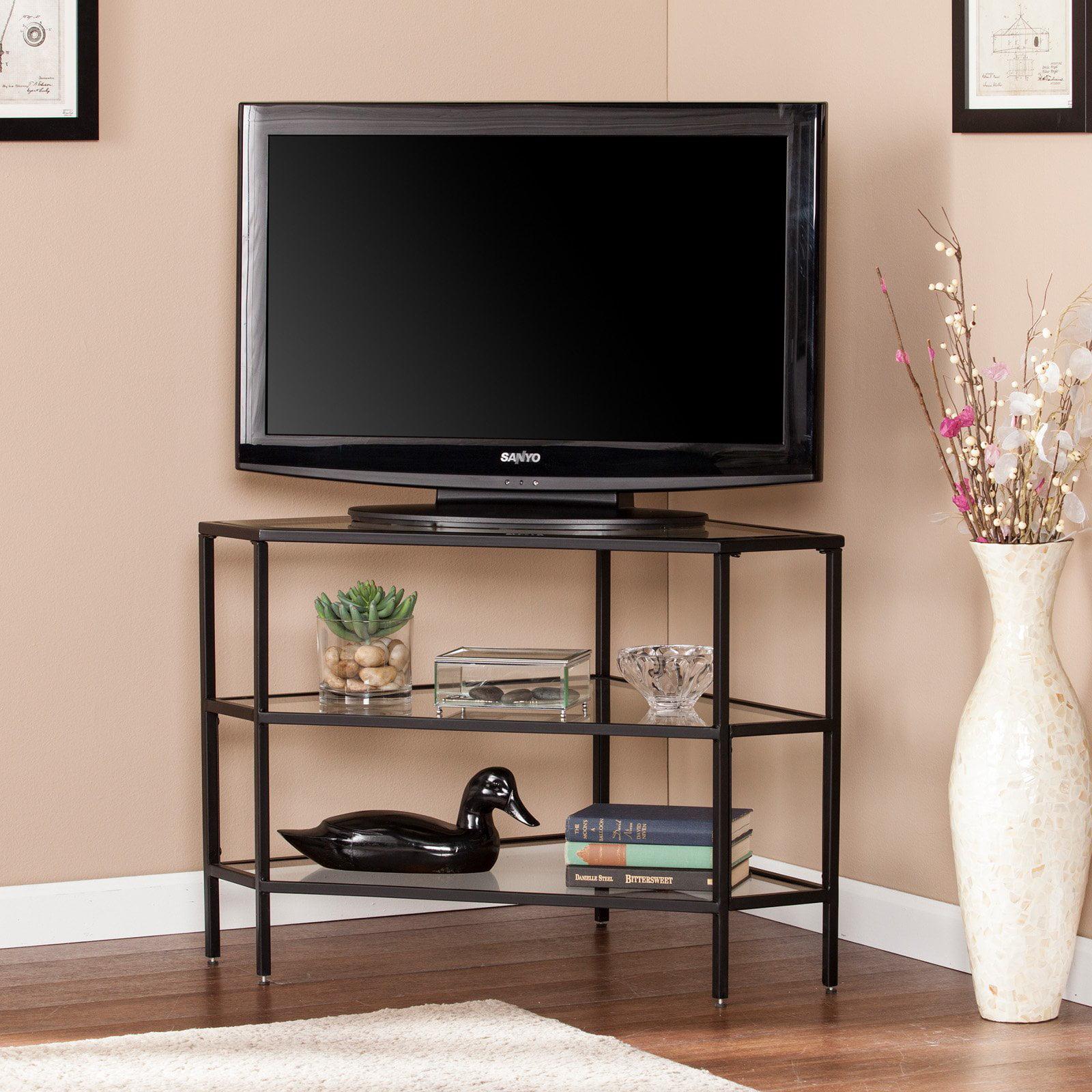 Southern Enterprises Niles Metal / Glass Corner TV Stand - Black