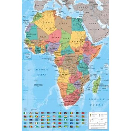 Africa Politicial Map Poster 24x36 (Map Africa Colour)