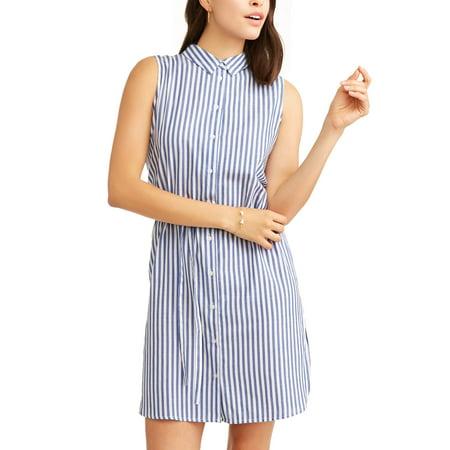 (Women's Vertical Striped Sleeveless Shirt Dress)