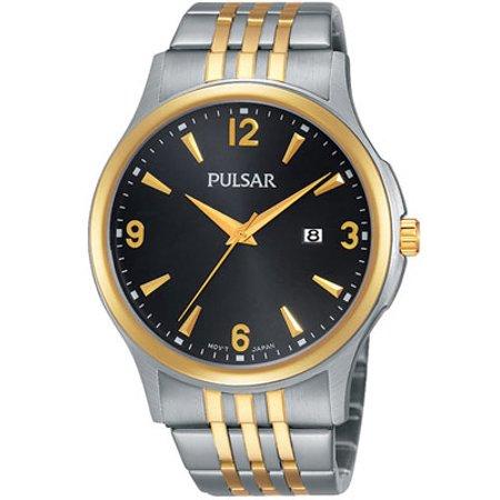 Men's Basic Dress Watch - Two-Tone Case and Bracelet - Black Dial