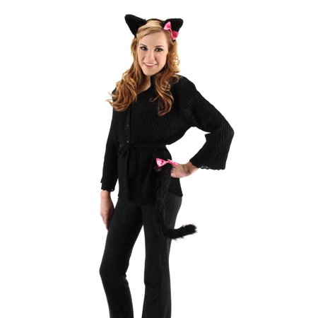 Cute Kitty Ears & Tail Costume Accessory Set Black One Size (Kitty Accessories)