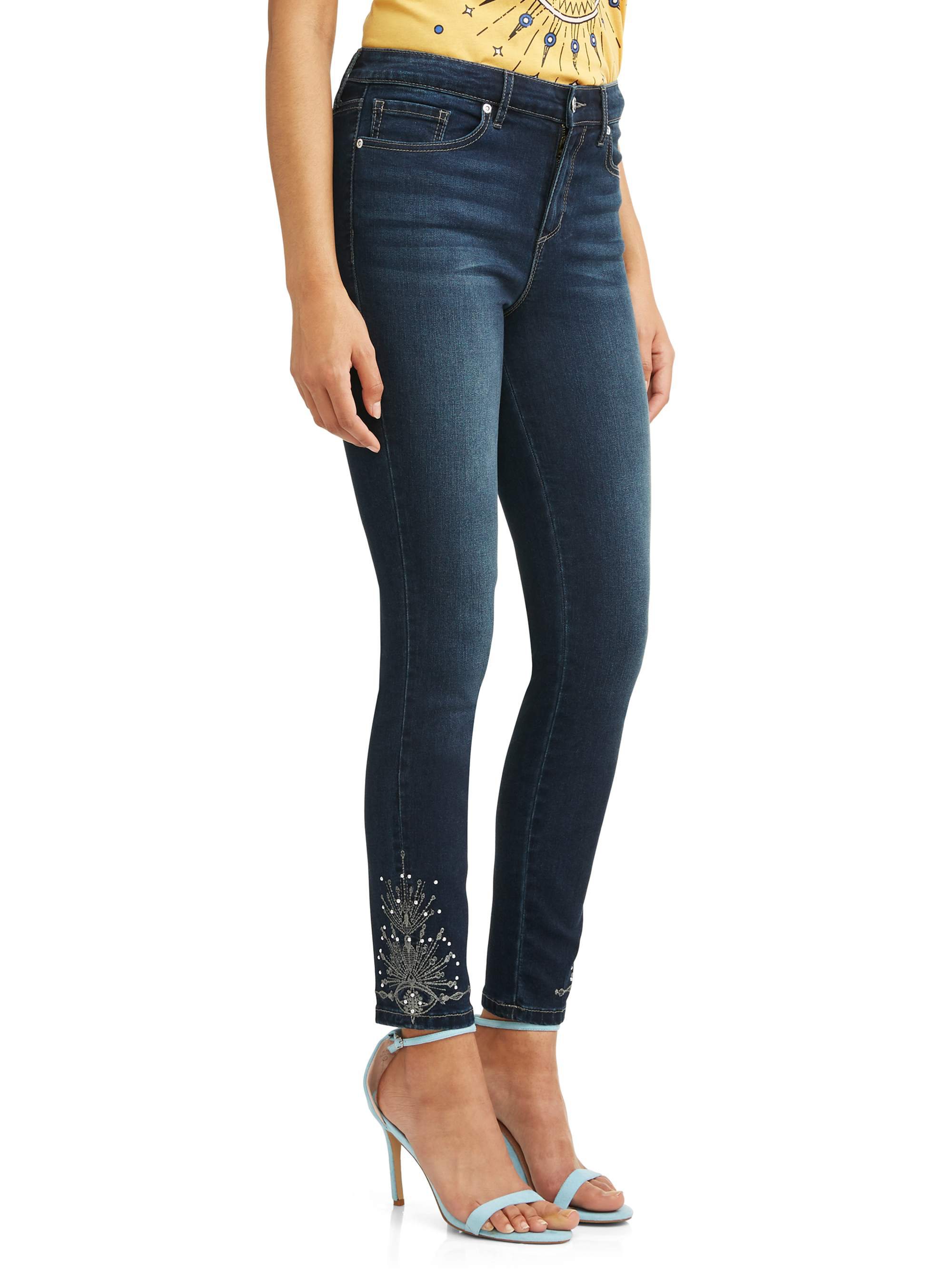 Rosa Embroidered Curvy Hi Rise Stretch Ankle Jean Women's