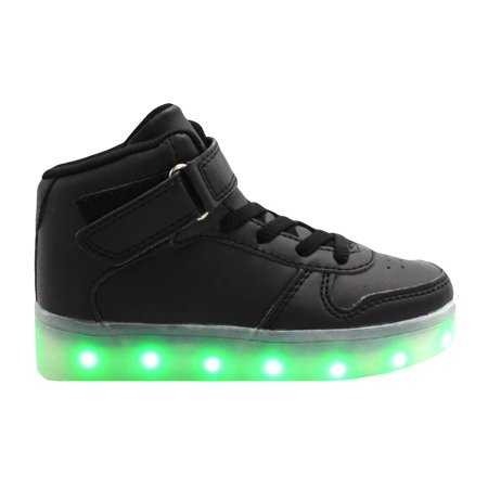 Galaxy LED Shoes Light Up USB Charging High Top Kids Sneakers (Black)