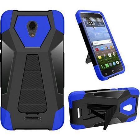 Xcite Fitted Case (For Alcatel Raven LTE, Alcatel Verso, Alcatel Cameo X, Alcatel Ideal Xcite, Hybrid Cover Case with kickstand + Tempered Glass Screen Protector (Blue) )
