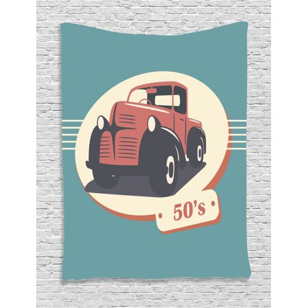 1950S Decor Wall Hanging Tapestry, Illustration Of Nostalgic Antique Classic Legendary Vehicles Old Is New Again Print, Bedroom Living Room Dorm Accessories, By Ambesonne