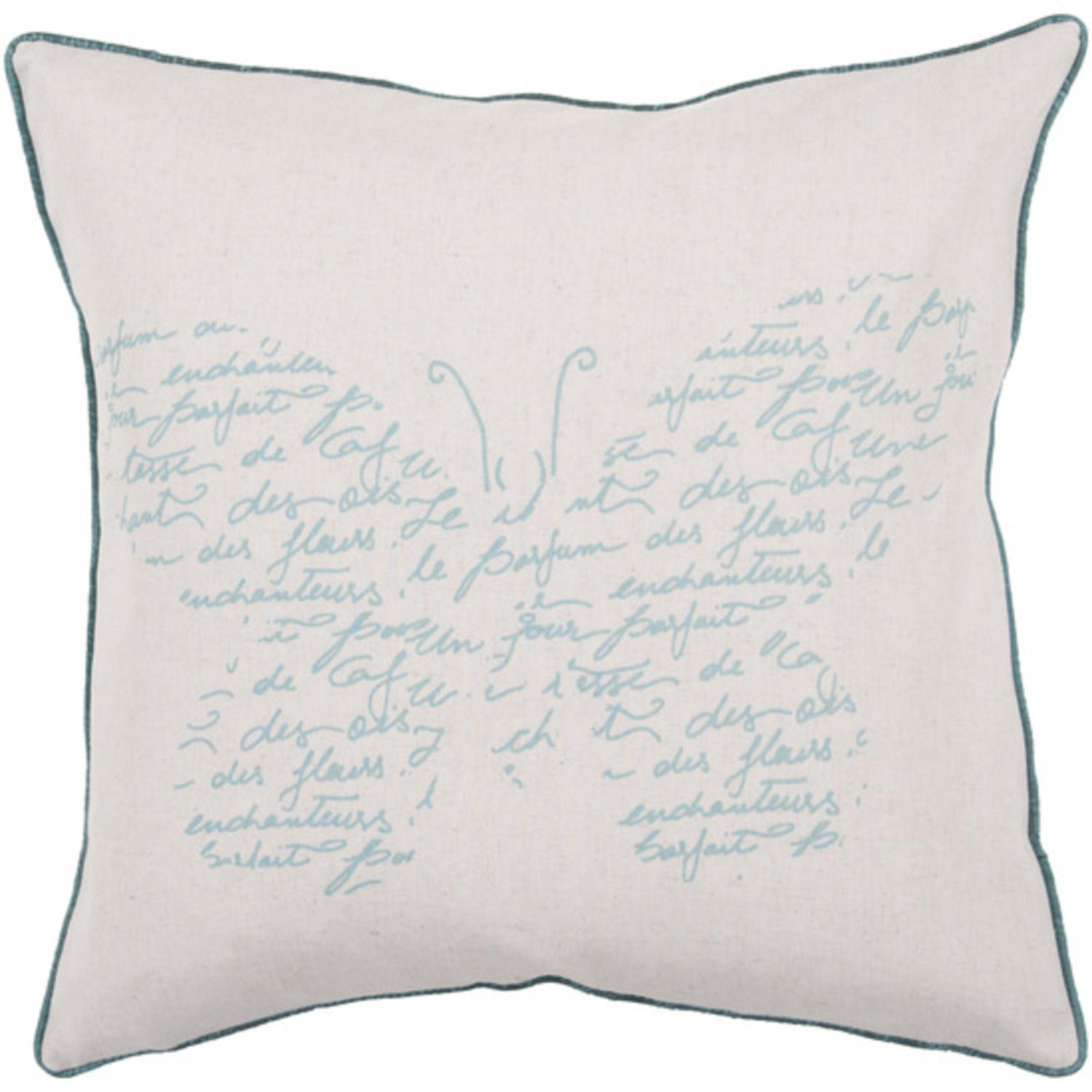 """18"""" Sea Blue and Ivory Butterfly with French Text Decorative Throw Pillow"""
