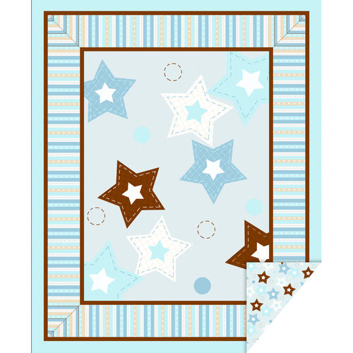 "Baby Boy Stars 43"" Double Face Quilt Cotton Fabric Print"