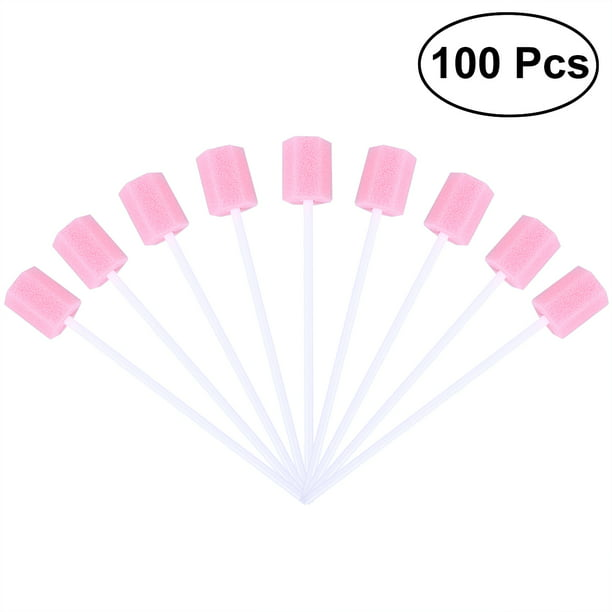 100pcs Oral Care Sponge Swab Tooth Cleaning Mouth Swabs (Pink)