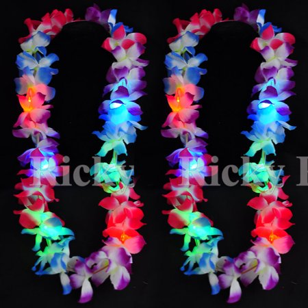 2 Lei Hawaiian LED Luau Necklace Flashing Rave Blinking Flower Vacation - Hawaiian Lei Company
