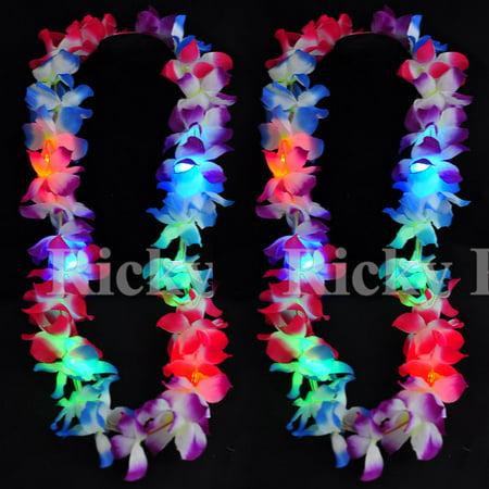 2 Lei Hawaiian LED Luau Necklace Flashing Rave Blinking Flower Vacation Glow Hawaiian Flower Necklace