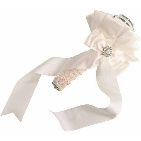 Lillian Rose Satin Wedding Bouquet Holder, Ivory (Gala Bouquet Holder)