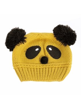 Kids Baby Girls Boys Cotton Warm Winter Panda Knitted Hat Pompom Beanie Cap