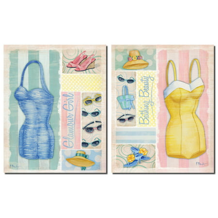 Beach Wear I Vintage 50s Style Bathing Suits and Fun Accessories; Beach Decor; Two 12x12 Poster Prints](50s Decor Home)