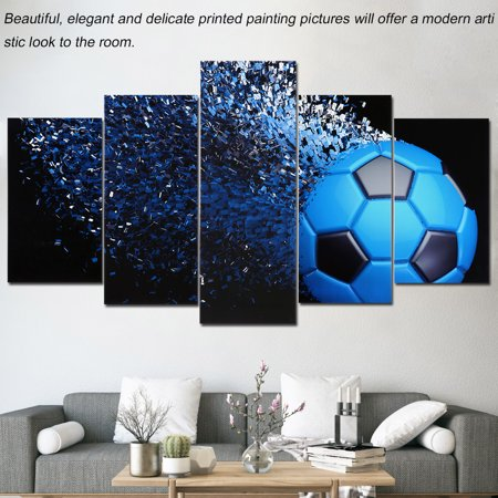 Black and Blue Football Canvas Painting 5 Panels Printed Picture ...