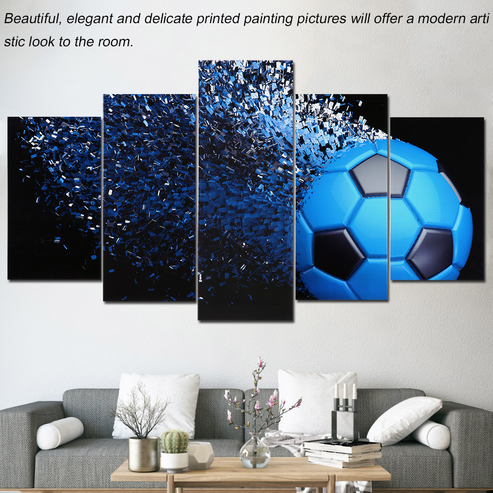 Black And Blue Football Canvas Painting 5 Panels Printed Picture Home  Office Bedroom Decor, Canvas